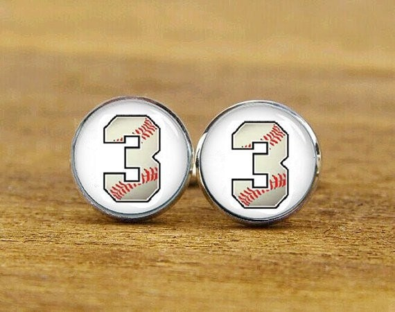 baseball number cufflinks, custom number cufflinsk, baseball fans gift, custom wedding cufflinks, round, square cufflinks, tie clips, or set