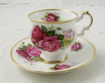 Elizabethan Bone China Footed Tea Cup and Saucer with Roses, Vintage Teacup and Saucer
