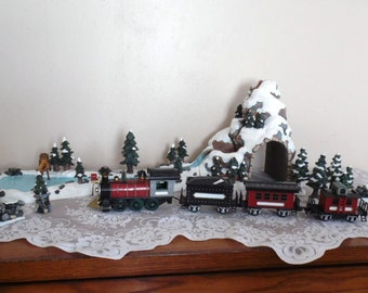 Vintage Train Set Winter Scene Pond, Tunnel, Mountain Lights and More Battery Operated Train Retro Holiday Decor Whimsical Christmas Decor