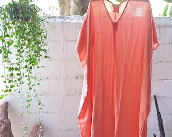 Beach Kaftan Dress Dream Peach Orange/Oversize kaftan/Kimono Dress/Kaftan/Beach Caftan/Caftan/Maxi Dress/Boho Dress/Nightgown/Resort Dress
