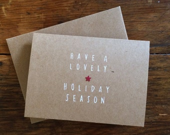 """Notecards """"Have a lovely holiday season""""  (Set of 4)"""