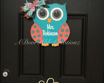 Owl Door Hanger, Teacher Owl Door Hanger, Teacher Gift, Nursery Owl  Door Hanger,Back to School Door Hanger,New Teacher Gift,Classroom Decor