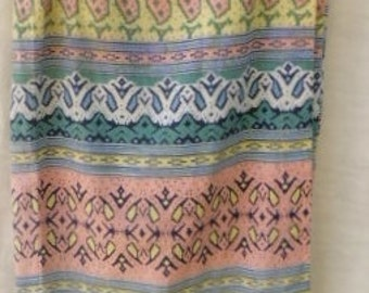 Vintage Early 90s COTTON Multi-Color Tie-at-Waist SKIRT  Medium