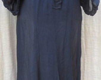 Size Small VINTAGE Early 1900s VICTORIAN Nylon AND Lace  original dress and slip
