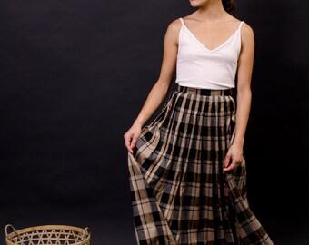 vintage silk maxi skirt / long tartan skirt / high waisted skirt