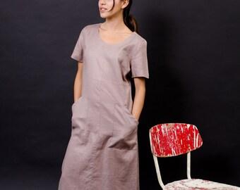 linen dress / minimalist dress / 90s dress