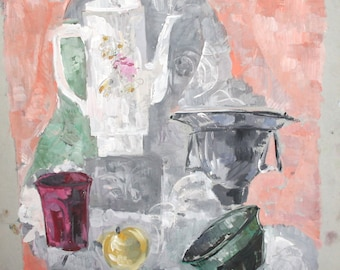 Expressionist Gouache Painting Still life With Teapot,Cups And Apple