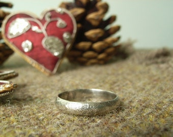 "Silver ""Rough 'n' Ready"" Ring. Textured Rustic Ring."