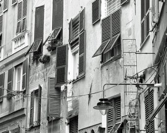 Black and White, Italy Photography, Europe, Windows, Shutters, Architecture, Travel Decor, Genoa, Genova, wall art, Fine art photo print