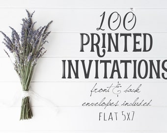 100 Professionally Printed, Front and Back, Flat 5X7 Invitations, envelopes included, Printing Option, Printed Cards, Printing Service