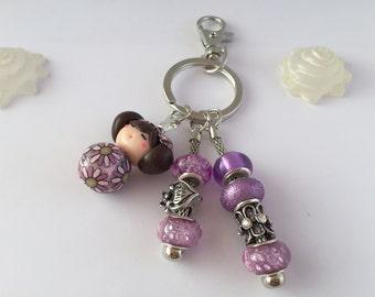 Key ring or bag rose jewel, ref 706 kokeshi doll
