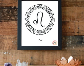 Zodiac Sign Leo Symbol Download Printable Wall Art