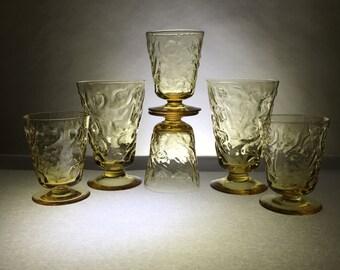 Vintage Amber Footed Tumblers   Crinkle Texture   Set of Six