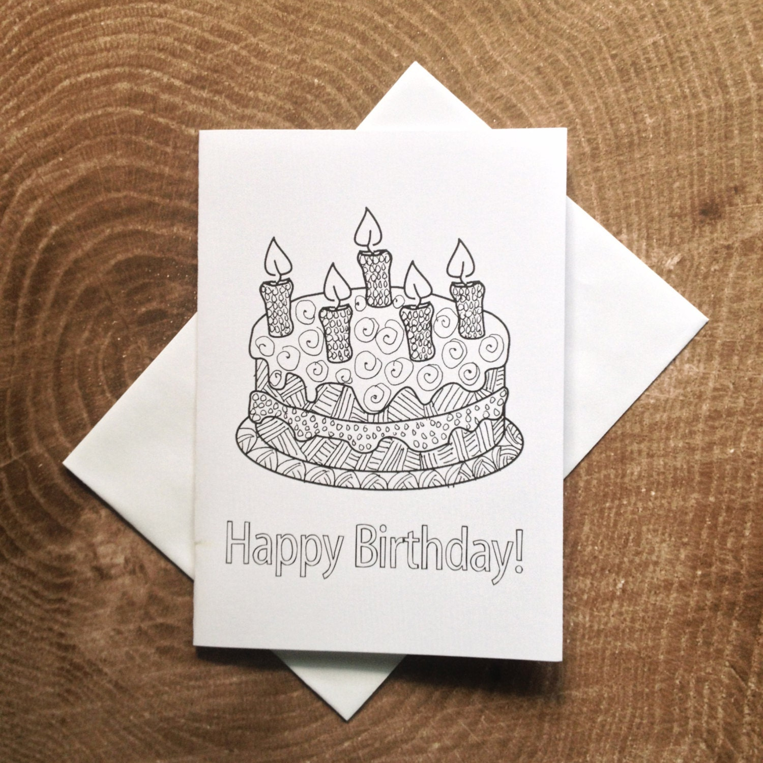 Birthday Cake Card: Kids Birthday Coloring Card Zentangle