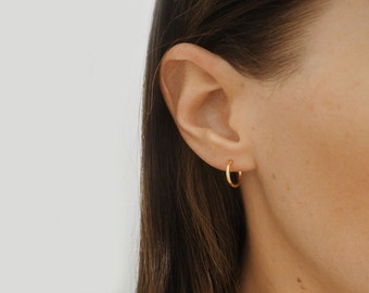 Tiny gold hoop earrings - 11mm hoops - Gold earrings -  Small hoops - Gold vermeil
