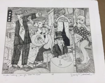 Multi-Tasking/ Can You Hear Me Now?: Artists Proof Engraving By David F Driesbach