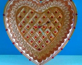 Upcycled Vintage Heart Shaped Jello Mold Clock, Vintage, Repurposed, Upcycled, Functional Art, Jello Mod, Made By Mod.