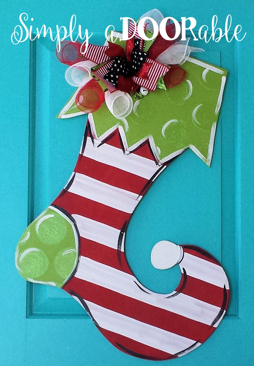 Merry christmas stocking wood door hanger by simply