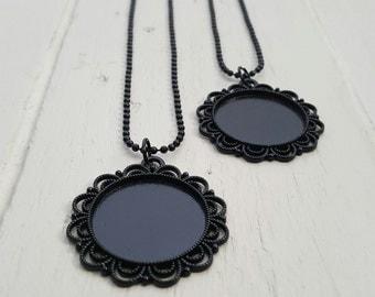 2 Black Pendant Cabochon Setting Necklace