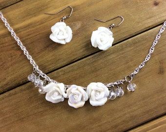 Necklace and Earrings set with white roses