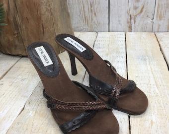 Size 6 - Steve Madden Heels, Brown High Heel Sandals, Leather Heels, brown suede heels size 6, Vintage Steve Madden Shoes 6, sandal heels