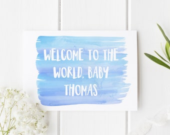New Baby Boy Card, Personalised Baby Card, New Arrival Card, Welcome To The World Baby Boy, Congratulations New Baby Boy, Card For New Baby