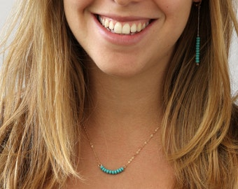 Turquoise necklace , Beaded Bar Necklace, Gold and turquoise, 14k Gold Filled Dainty Necklace, Layered Necklace,