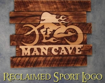 Man Cave, Biker, FREE UV protector, 30X23, Burnt wall hanging, Shou Sugi Ban, Charred wood, Sport sign, Wood Sports sign, Pallet wood