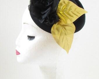 Black & Gold Rose Flower Pillbox Hat Fascinator Races Rockabilly 1950s Vtg 374