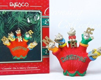 Enesco Countin' on a Merry Christmas Ornament Mice in Red Glove RARE Vintage Treasury of Christmas Mouse Mittens HTF