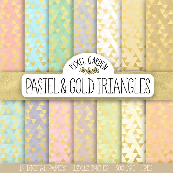 Gold Triangle Digital Paper. Gold Foil Wedding Scrapbook
