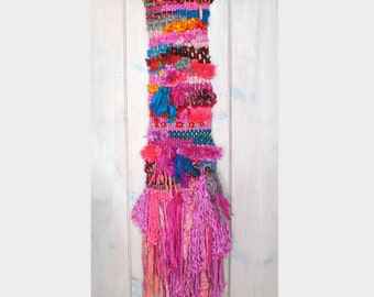 Festive Woven Wall Hanging with Reclaimed Sari Silk Ribbon, Colorful Woven Wall Hanging, Fuchsia Pink Wall Hanging, Bright Fun Wall Hanging