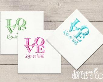 Personalized Wedding Napkins • Lovely • Weddings • Bridal Showers • Baby Showers • Letterpress Foil Napkins