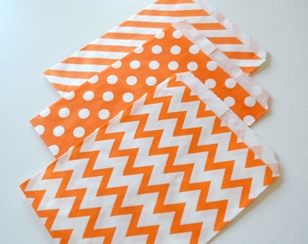 """25PK - Orange 5"""" X 7"""" Treat Bags // Party Favor // Paper Bag // Wedding, Grad Party, Birthday Party Candy Bar Bags"""