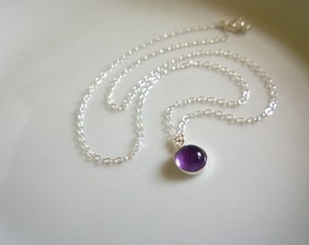 Amethyst necklace sterling silver; round amethyst pendant necklace; small gemstone pendant necklace; natural amethyst necklace