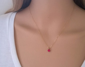Tiny ruby necklace in 14Kt gold filled; gold ruby necklace; small ruby necklace; July birthstone