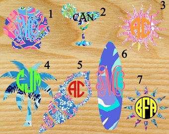 Lilly Pulitzer inspired beach monogram decal, seashell, shell,palm tree, conch shell, margarita, surfboard, sun, laptop decal, Car decal