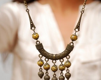 Unique boho necklace. Spike necklace, Rustic yellow glass beads necklace, Gypsy necklace, Hippie necklace.