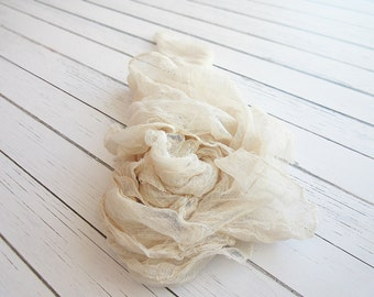 Newborn Cheesecloth Wrap, Cream Baby Wrap, Maternity Cheesecloth Wrap