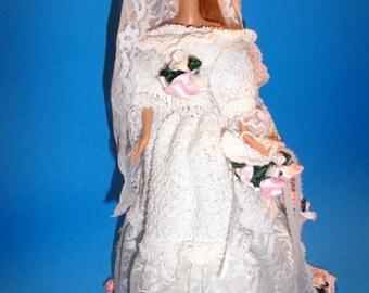 Victorian wedding dress for 11 1/2 inch doll