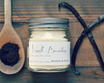 Vanilla Bourbon - Mason Jar Soy Candle - 8 oz Mason Jar Candle - phthalate free