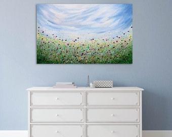 "Floral Painting, Meadow, Splatter art, Blue, Yellow, Textured painting, Abstract Floral, Abstract Art, ""Peace Of Mind"" 20x28"" by SFBFineArt"