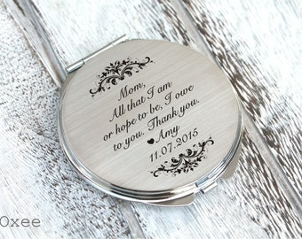 Personalized engraved pocket mirror   compact mirror   wedding gift   mother of the bride gift   birthday, today a bride