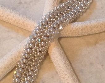 Swarovski Crystal and Pearl Bracelet /Bridal/ Holiday