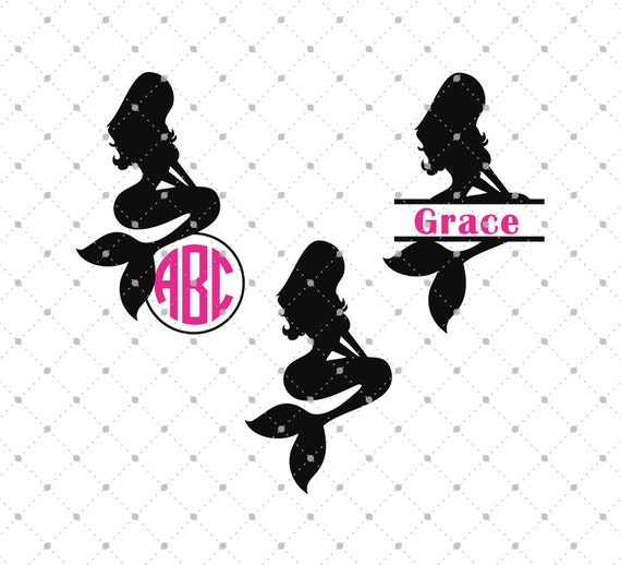 mermaid svg cut files mermaid monogram frame svg cut files