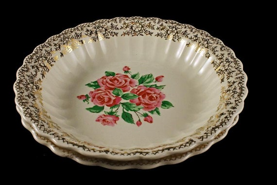 Coupe Soup Bowls, Sebring Pottery, China Bouquet, Pink Roses, Gold Filigree Trim, Set of 2