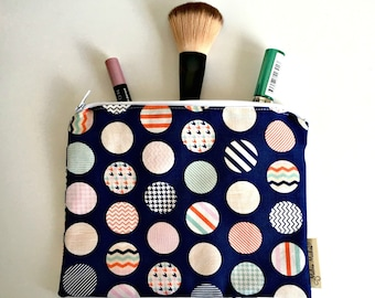 Nautical Pouch, Navy Cosmetic Bag, Handmade Zip Pouch - Spots, Chevrons. 100% cotton, Fully Lined, Toiletry Bag, Gift for Her
