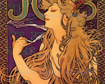 "Alphonse Mucha ""Woman Smoking Cigarettes Job 1"" 1920's Reproduction Digital Print Art Nouveau Wall Decor"