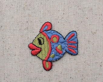 Childrens - Fish - Blue, Green, and Red - Iron on Applique - Embroidered Patch - AP-511912