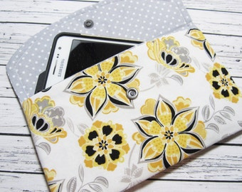 Yellow Floral iPhone Clutch Wallet, Smartphone Wallet Clutch, Women's Fabric Clutch Wallet, Cell Phone Clutch, Phone Case, Cell Phone Holder